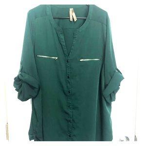Penningtons Emerald Green Half Zip Blouse